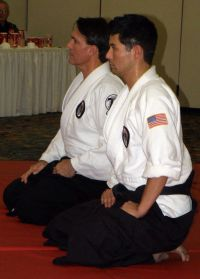 Yoshitsune black belts Ron Oringer and Todd Turner testing for Nidan in the Yoshitsune black belts Ron Oringer and Todd Turner testing for Nidan in the Yoshitsune Traditional System